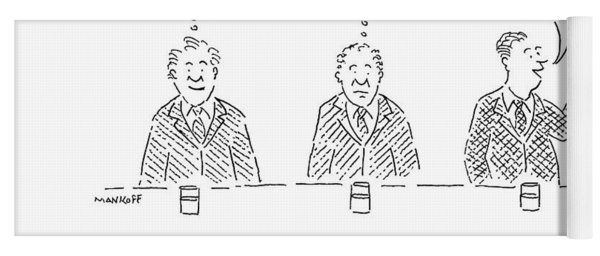 Three Men Sit At A Bar With Drinks. The First Yoga Mat