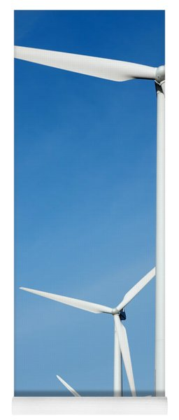 Three Mighty Windmills In A Row Against A Blue Sky. Yoga Mat