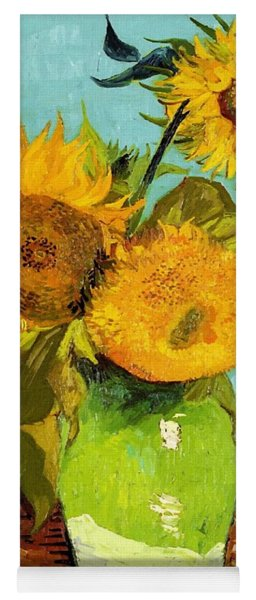 Three Sunflowers In A Vase Yoga Mat