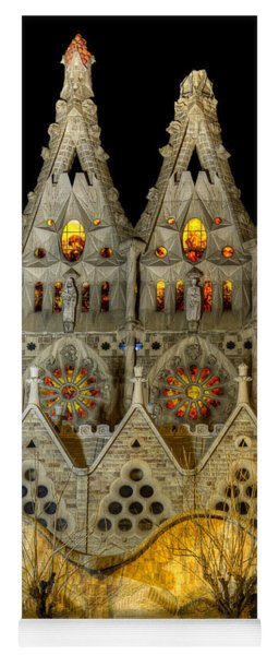 Three Tiers - Sagrada Familia At Night - Gaudi Yoga Mat