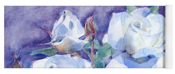 White Roses With Red Buds On Blue Field Yoga Mat