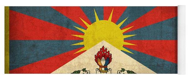 Tibet Flag Vintage Distressed Finish Yoga Mat