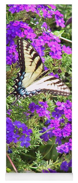 Tiger Swallowtail Butterfly With Purple Wave Petunias And Verbena Yoga Mat