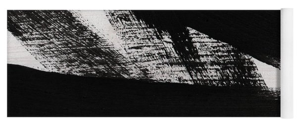 Timber 2- Horizontal Abstract Black And White Painting Yoga Mat