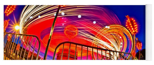Time Exposure Of A Carnival Ride Yoga Mat