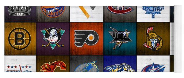Time To Lace Up The Skates Recycled Vintage Hockey League Team Logos License Plate Art Yoga Mat