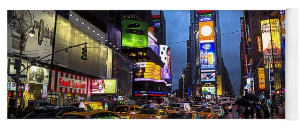 Times Square In The Rain Yoga Mat