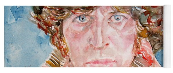 Tom Baker Doctor Who Watercolor Portrait Yoga Mat