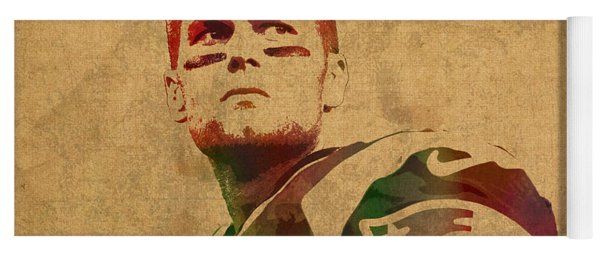 Tom Brady New England Patriots Quarterback Watercolor Portrait On Distressed Worn Canvas Yoga Mat