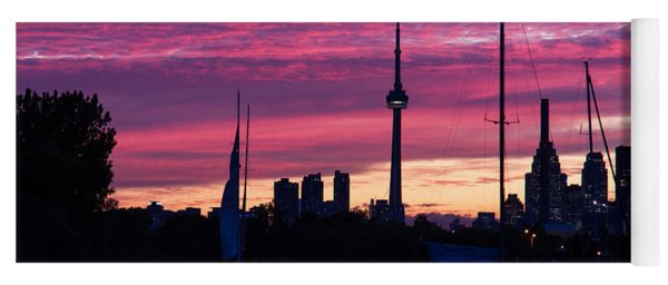 Toronto Skyline - The Boats Are Coming In Yoga Mat