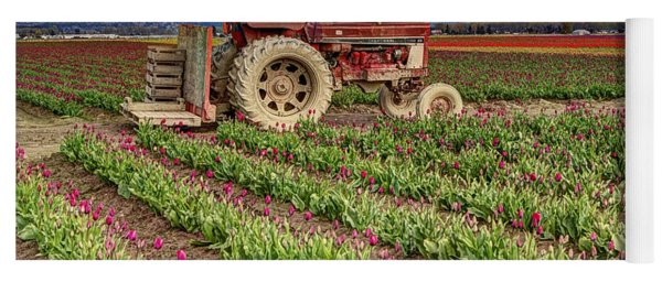 Tractor And Tulips Yoga Mat