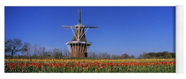 Traditional Windmill In A Tulip Field Yoga Mat