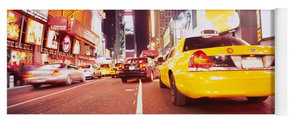 Traffic On The Road, Times Square Yoga Mat