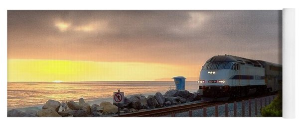 Train And Sunset In San Clemente Yoga Mat