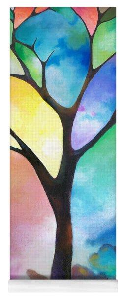 Original Art Abstract Art Acrylic Painting Tree Of Light By Sally Trace Fine Art Yoga Mat