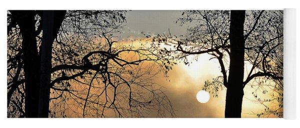 Trees On Misty Morning Yoga Mat
