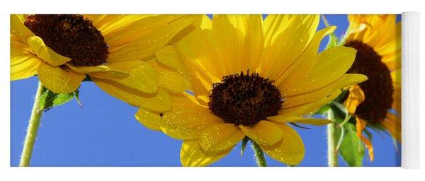 Trio In The Sun - Yellow Daisies By Diana Sainz Yoga Mat