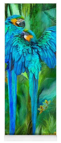 Tropic Spirits - Gold And Blue Macaws Yoga Mat