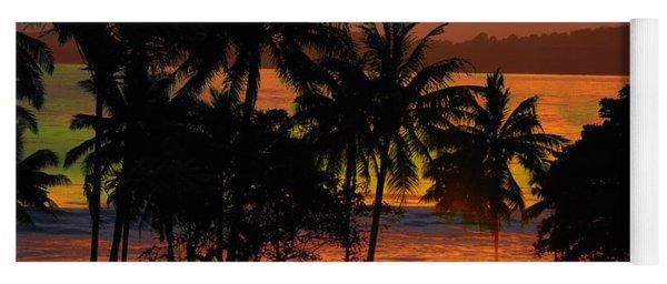 Tropical Sunset In Greens Yoga Mat
