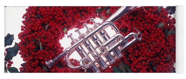 Trumpet On Red Berry Wreath Yoga Mat
