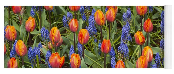 Tulip And Grape Hyacinth Yoga Mat