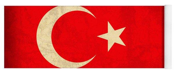 Turkey Flag Vintage Distressed Finish Yoga Mat