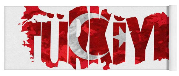 Turkey Typographic Map Flag Yoga Mat