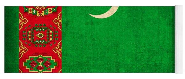 Turkmenistan Flag Vintage Distressed Finish Yoga Mat