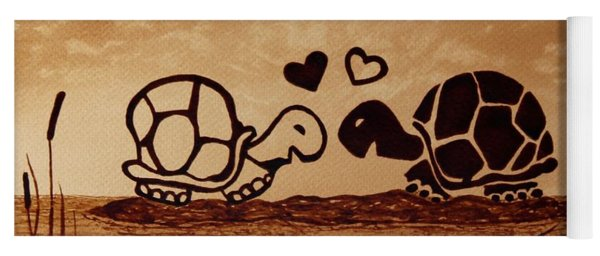 Turtles Love Coffee Painting Yoga Mat