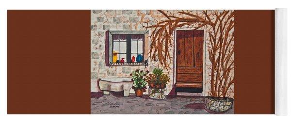 Tuscan Portal Watercolor Art Prints Yoga Mat