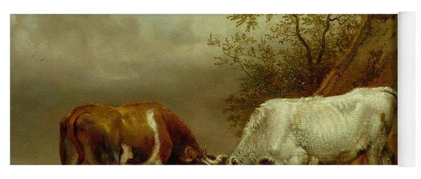 Two Bulls With Locked Horns, 1653 Oil On Board Yoga Mat