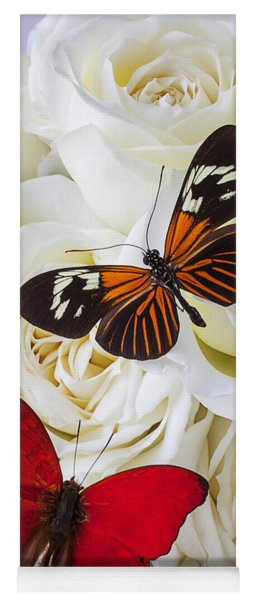 Two Butterflies On White Roses Yoga Mat