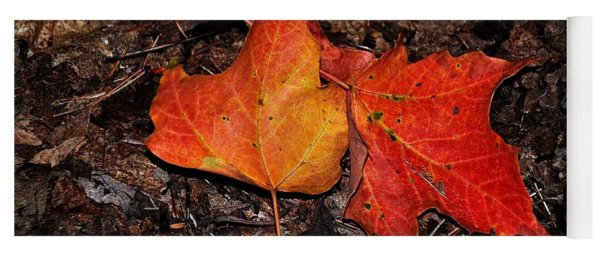 Two Fallen Autumn Leaves Yoga Mat