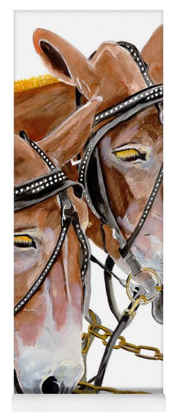 Yoga Mat featuring the painting Two Mules - Enhanced Color - Farmer's Friend by Jan Dappen