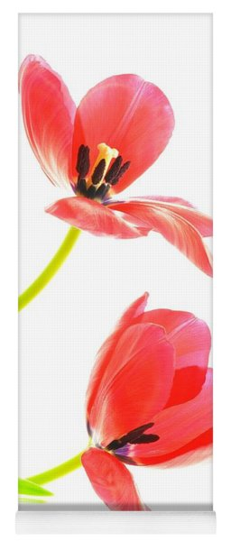 Two Red Transparent Flowers Yoga Mat