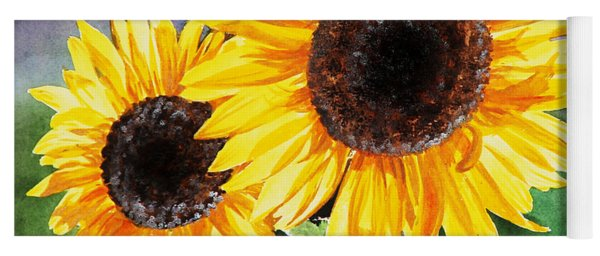 Two Sunflowers Yoga Mat