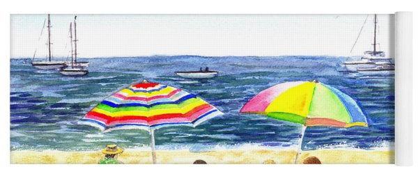 Two Umbrellas On The Beach California  Yoga Mat