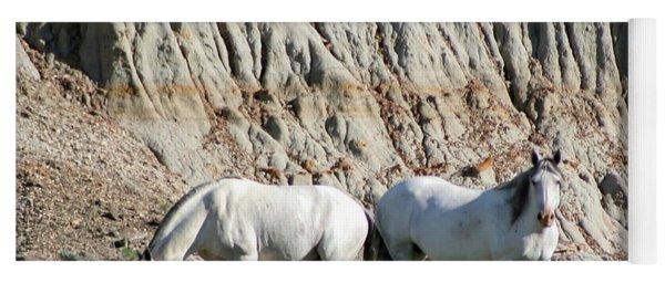 Two Wild White Stallions Yoga Mat