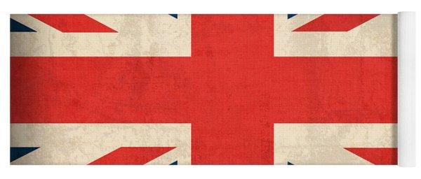 United Kingdom Union Jack England Britain Flag Vintage Distressed Finish Yoga Mat