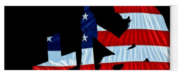 A Time To Remember United States Flag With Kneeling Soldier Silhouette Yoga Mat