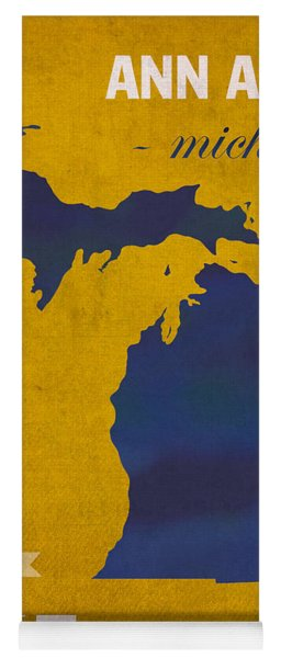 University Of Michigan Wolverines Ann Arbor College Town State Map Poster Series No 001 Yoga Mat