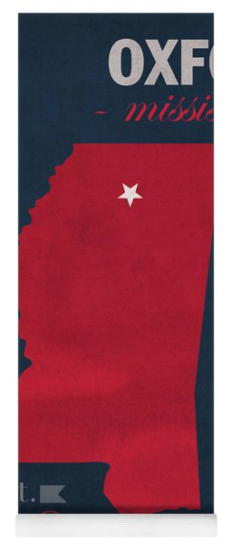 University Of Mississippi Ole Miss Rebels Oxford College Town State Map Poster Series No 067 Yoga Mat