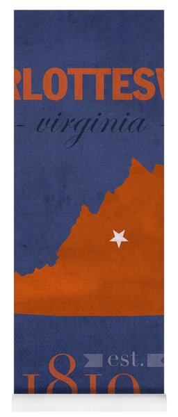 University Of Virginia Cavaliers Charlotteville College Town State Map Poster Series No 119 Yoga Mat