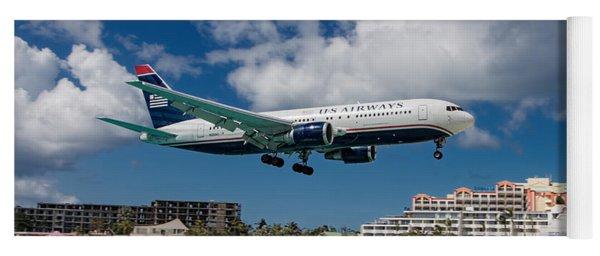 U S Airways Landing At St. Maarten Yoga Mat