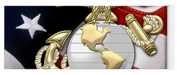U. S. Marine Corps - U S M C Eagle Globe And Anchor Over American Flag. Yoga Mat
