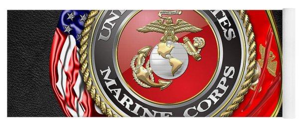 U. S. Marine Corps U S M C Emblem On Black Yoga Mat