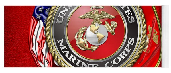 U. S. Marine Corps U S M C Emblem On Red Yoga Mat