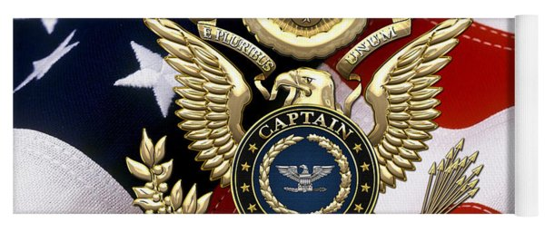 U. S.  Navy Captain - C A P T  Rank Insignia Over Gold Great Seal Eagle And Flag Yoga Mat
