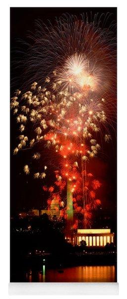 Usa, Washington Dc, Fireworks Yoga Mat
