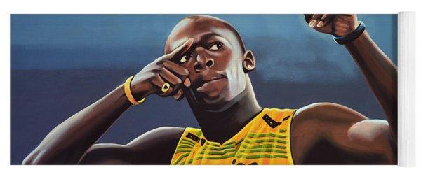 Usain Bolt Painting Yoga Mat